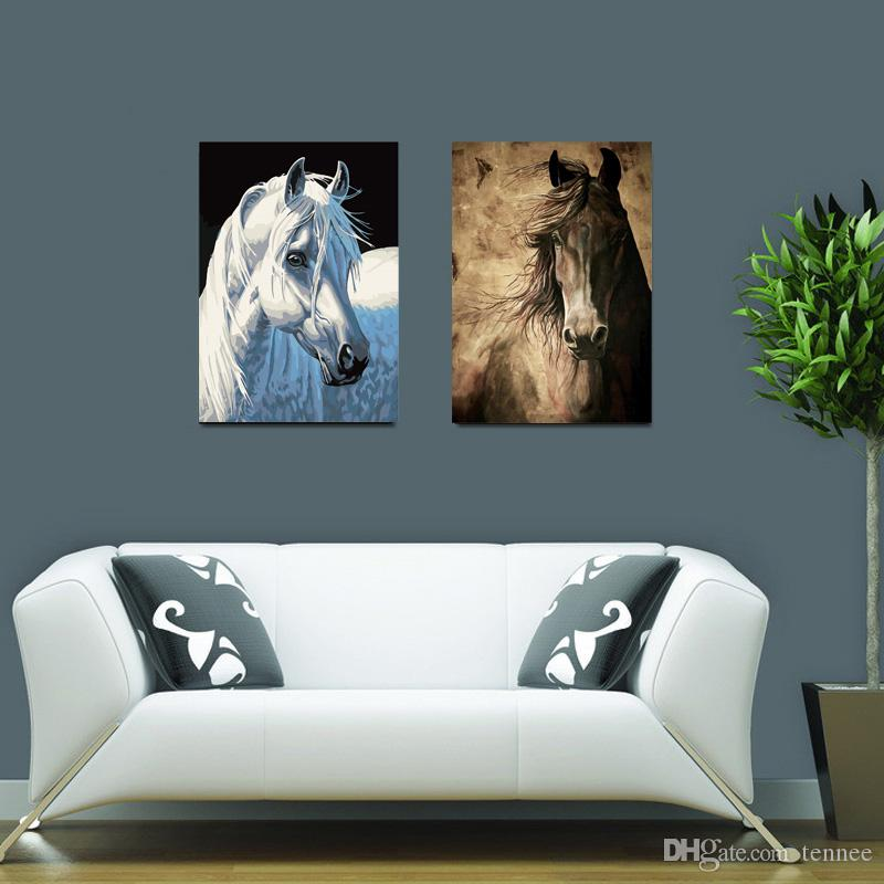 Xmas Gift Wall Art Pictures For Living Room Decoration Modern Canvas Paintings White & Black Horse Animal Oil Painting Printed No Fram