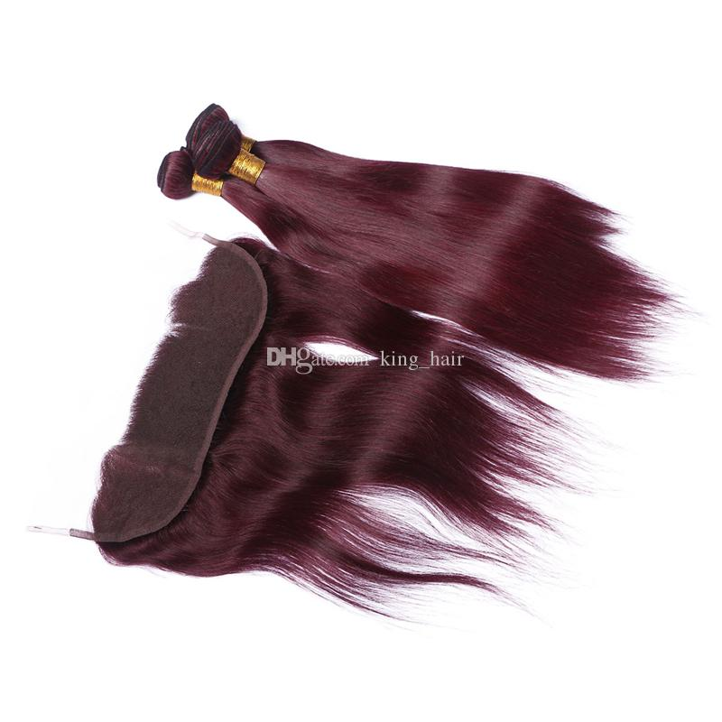 #99J Silky Straight Human Hair Bundles With Lace Frontal Bleaches Knot Burgundy 13x4 Full Lace Frontal With Hair Weaves