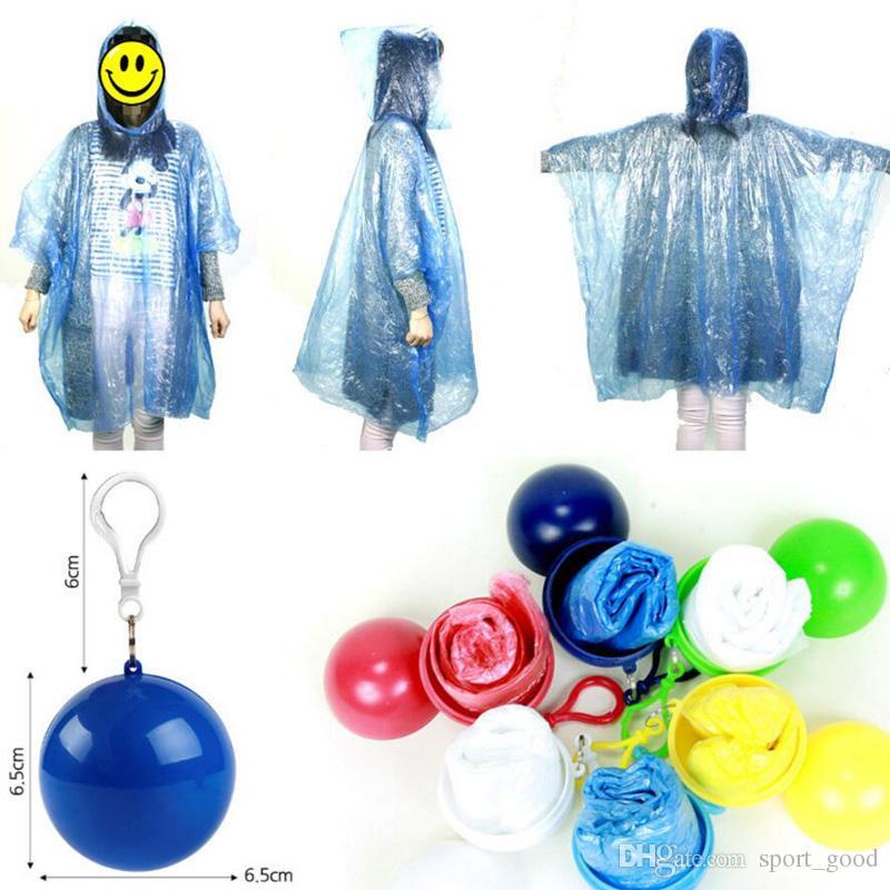 Outdoor portable raincoats ball disposable raincoats camping fishing travel emergency poncho key chain rain wear balls for sale