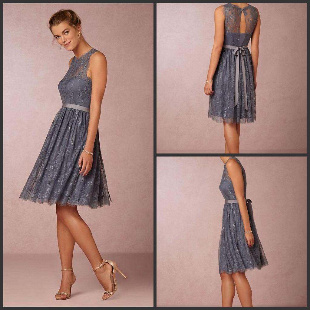 Cheap 2017 new short knee length bridesmaid dresses a line sash cheap 2017 new short knee length bridesmaid dresses a line sash grey lace bridesmaids gowns vintage wedding guest party dresses 1305 modern bridesmaid ombrellifo Gallery