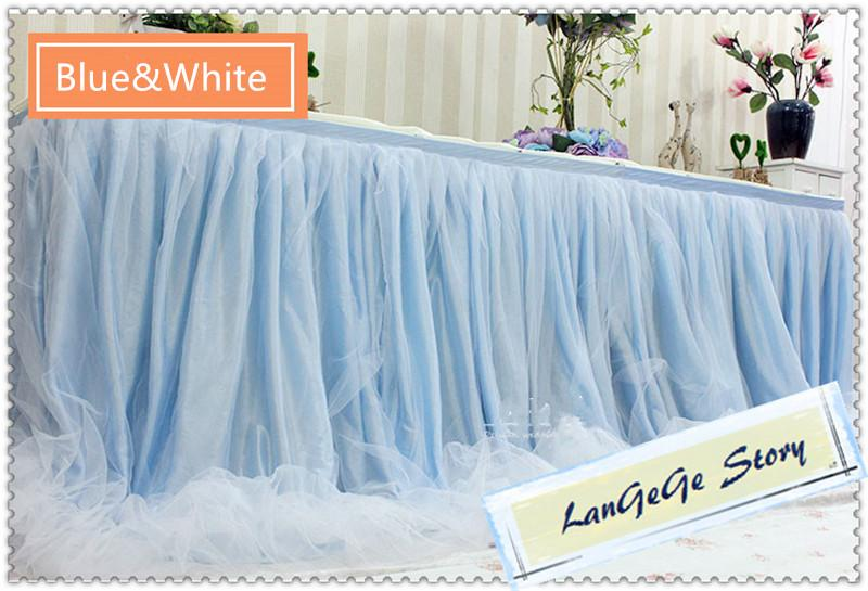 Purple skirt with white mesh Yarn/Romantic Wedding Party Birthday Table Skirting Tableware 17ft Table Cloth