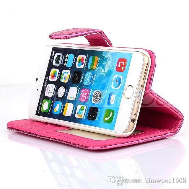 For Iphone 4/5/6 Plus cases Phone Cases Wallet Leather Shiny Case Cover Pouch With Stand Credit Card Holder For S5 S4
