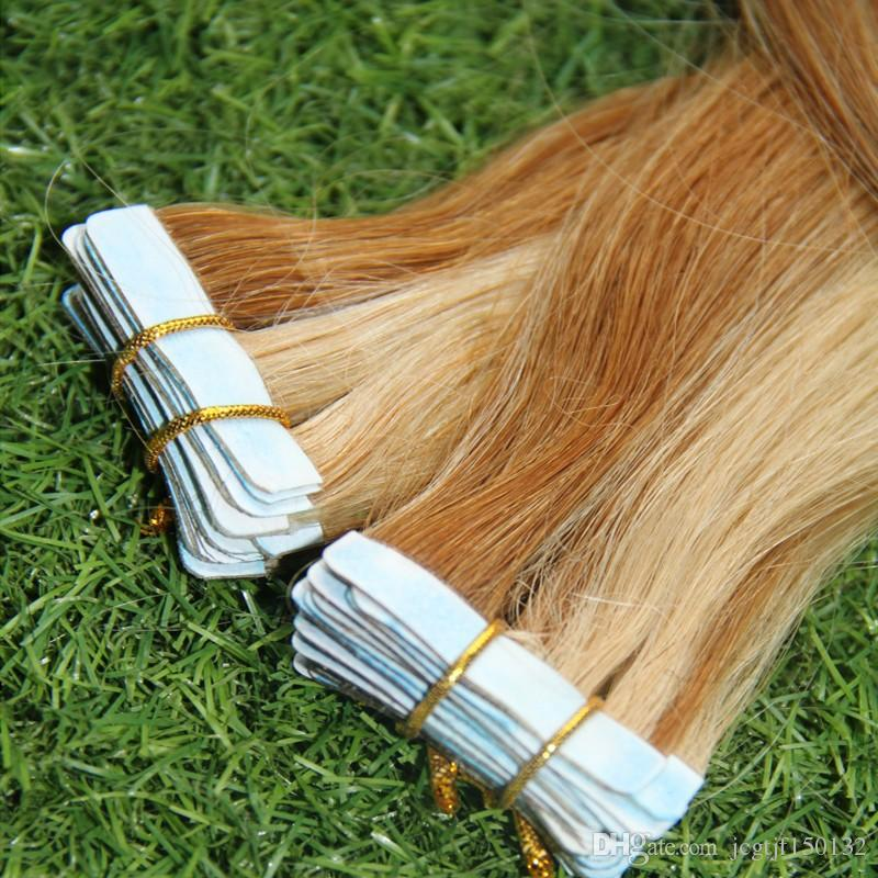 T27/613 Blonde tape in extensions two tone ombre brazilian hair Straight ombre human hair 100g Apply Tape Adhesive Skin Weft Hair