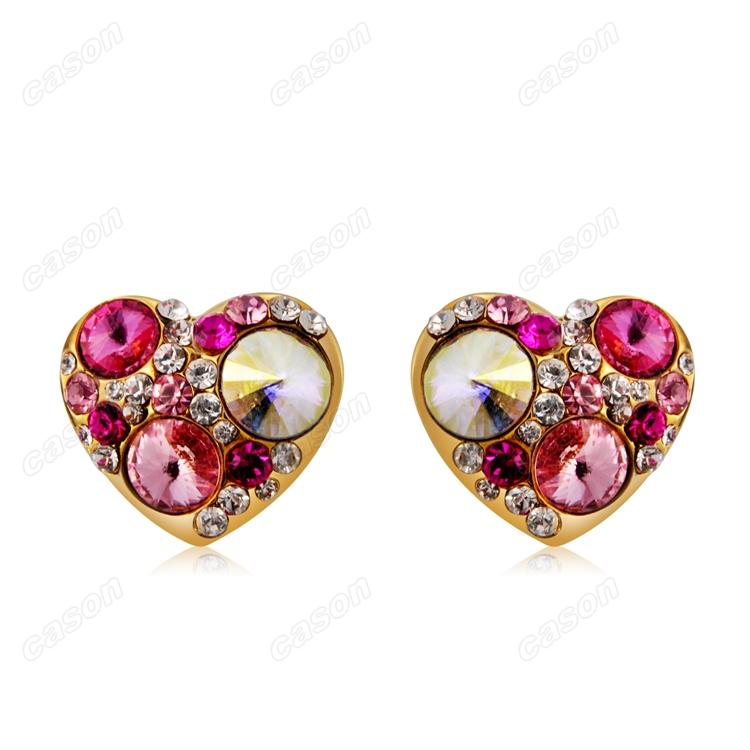 Brand New Cason Women fashion jewelry gold plated Tri Color Heart clip earrings red colour drop shipping EJ-0007