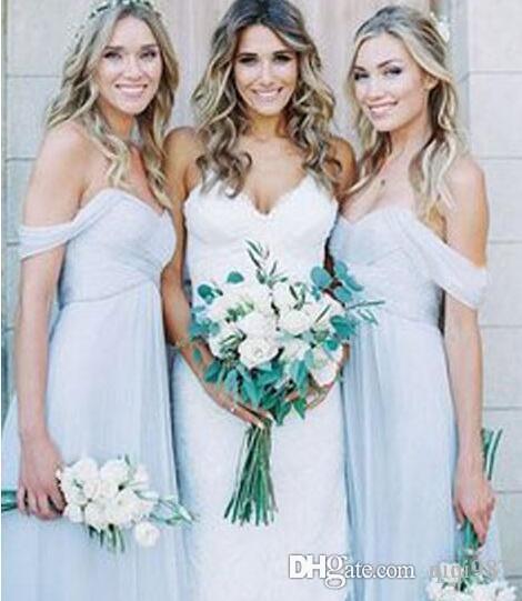 87f5a41b021 Amsale 2017 Gorgeous Draped Sky Blue Off Shoulder Beach Boho Long Bridesmaid  Dresses Bohemian Wedding Party Guest Bridesmaids Dress Cheap Bridesmaid  Dress ...