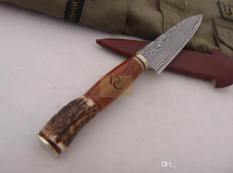 손 클래식 다마스커스 Fixd 다마스커스 블레이드 나이프 구리 + 뿔 가죽 칼과 높은 품질을 처리했다