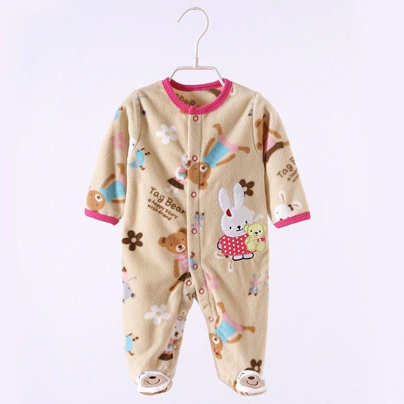 0-12 M Outono Bebê Macacão de Lã Bonito Rosa Baby Girl Boy Roupas Infantis Do Bebê Meninas Roupas Macacões Footed Macacão