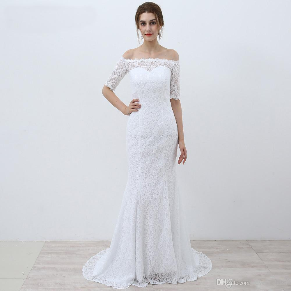 Full Lace Wedding Dress Mermaid Floor Length Back Lace Up Off ...