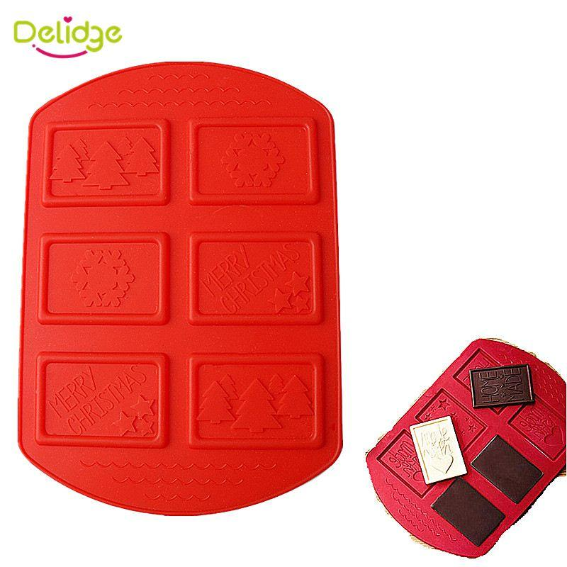 1 pc 6 Holes Christmas Series Chocolate Mold Silicone Different Pattern Cookie Mold DIY Mini Muffin Cake Decoration Moulds