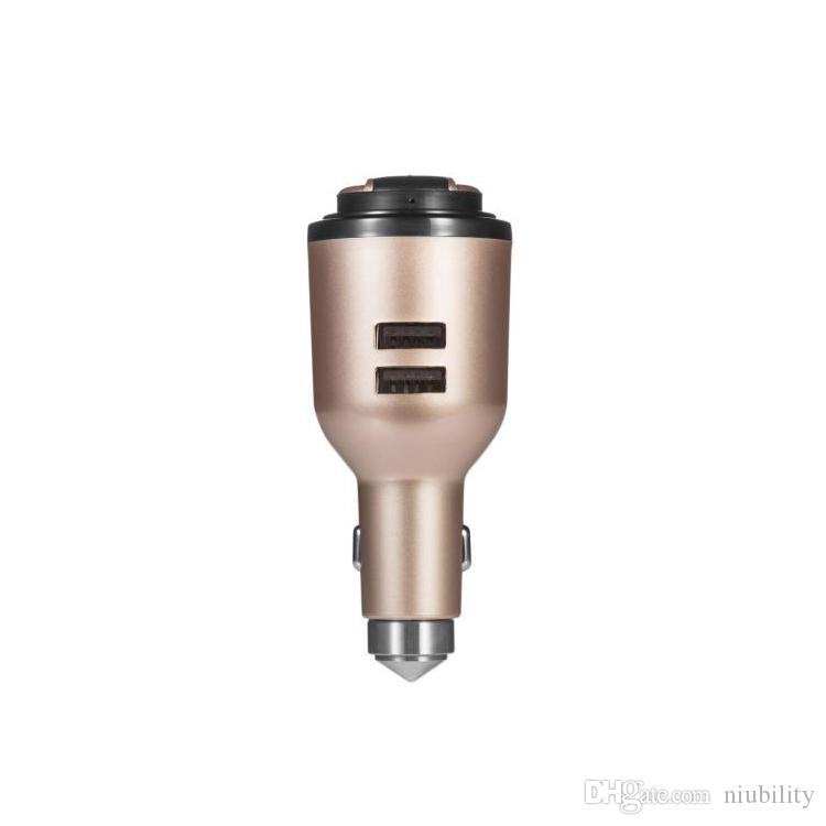 IVLWE 3 in 1 Dual USB Smart Car Charger Wireless Bluetooth 4.1 Earphone Headset Emergency Safe Hammer Built-in Mic for iPhone iPad iPod Gold