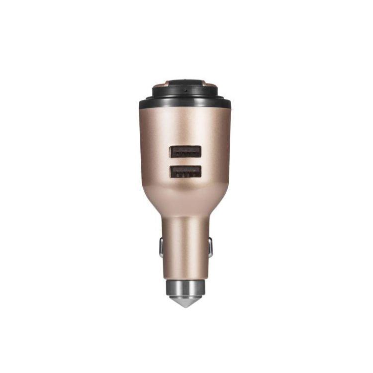 IVLWE 3 in 1 Dual-USB-Smart-Kfz-Ladegerät Wireless Bluetooth 4,1 Kopfhörer Headset Emergency Safe Hammer Eingebautes Mikrofon für iPhone iPad iPod Gold
