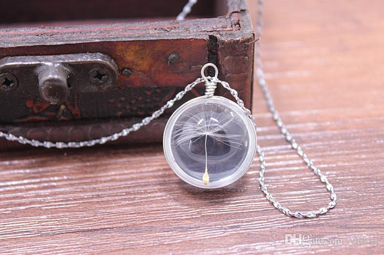 dried exclusive esthetic time gem crystal plant specimens pendant necklace female line in dandelion clavicle chain necklace girl gifts