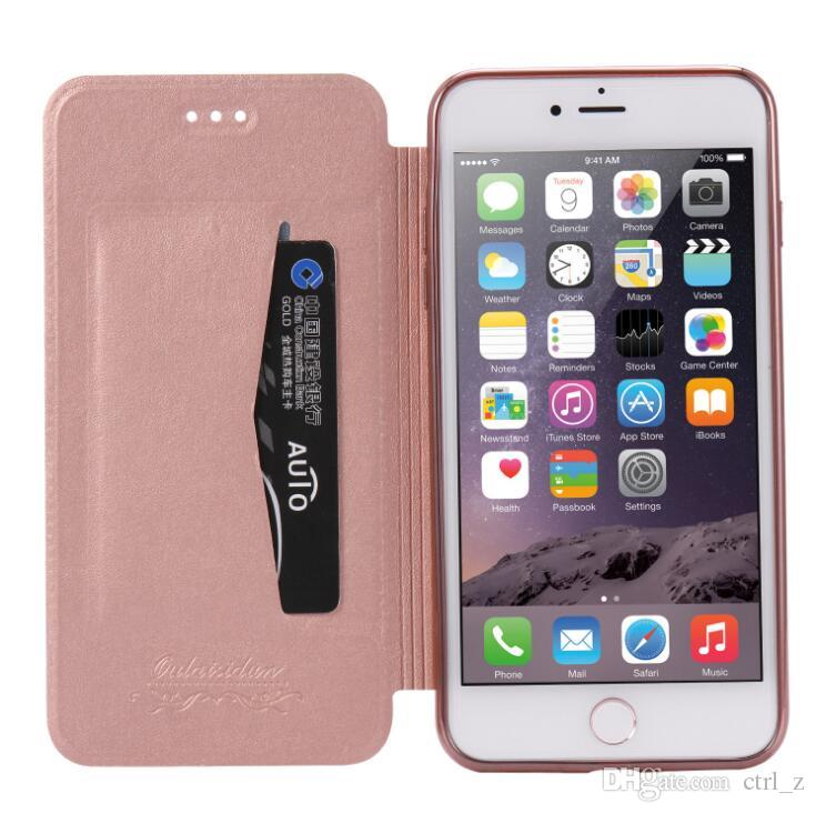 For iphone 7 6S 6 plus Slim Premium Flip Case Cover Leather Wallet phone clear TPU For iphone7