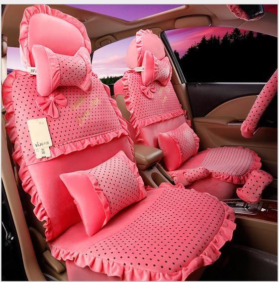 Famous Pink Polka Dot Lady Women'S Car Seats Cover Girls Sedan Chairs  PA03