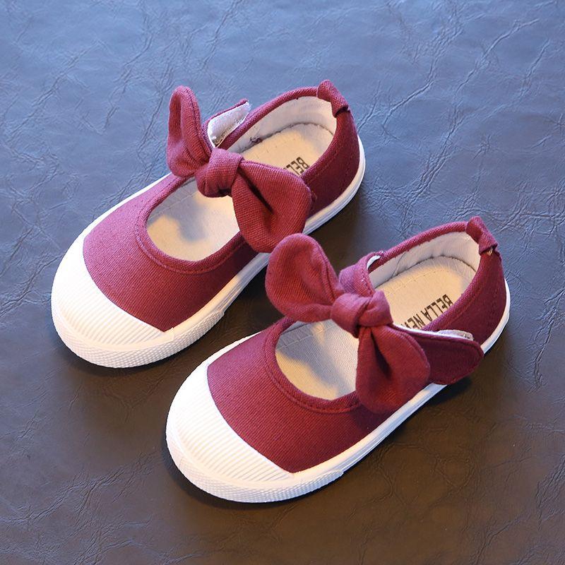new product 90fd9 e4d5e Größe 21-30 Sommer Stil Kinder Mädchen Schuhe süße Bowknot Prinzessin  Schuhe Mädchen Leinwand Schuhe weiche Sole Candy Farbe Kinder flach
