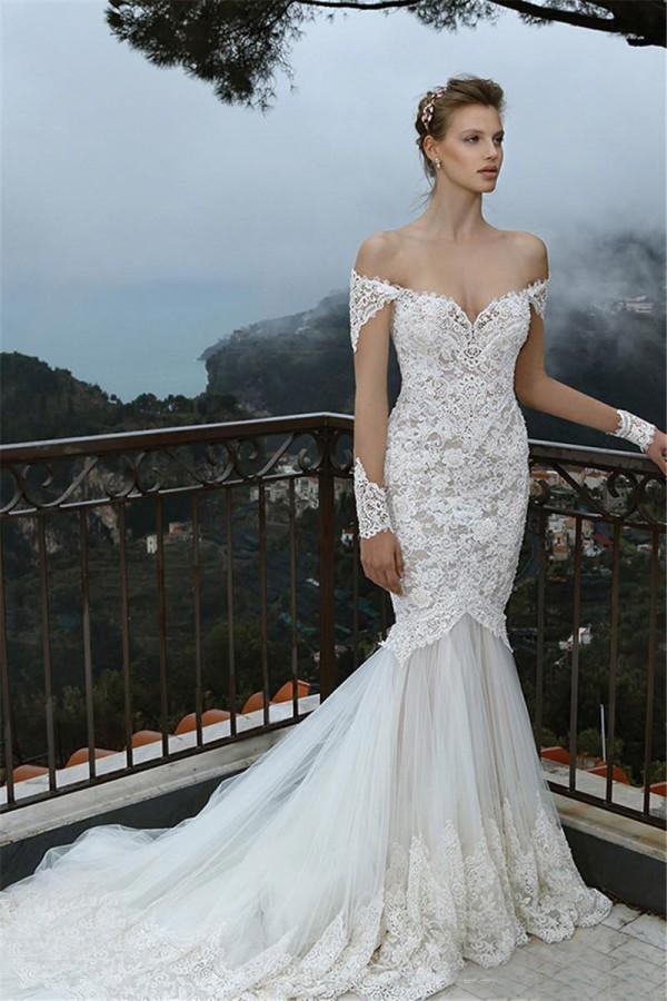 어깨 인형에서 멋진 인어 웨딩 드레스 Appliqued 긴 소매 레이스 Tulle 신부 드레스 사용자 지정 만든 높은 품질