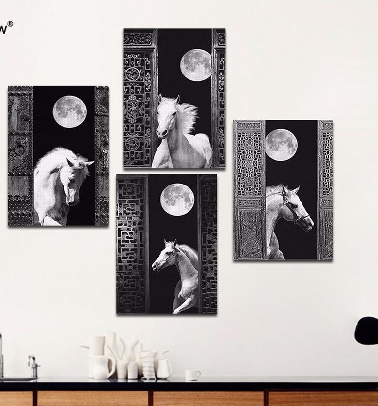 Lüks Retro siyah beyaz oturma odası dekorasyon Dolunay at tuval boyama baskılı duvar asılı ev dekor çerçevesiz