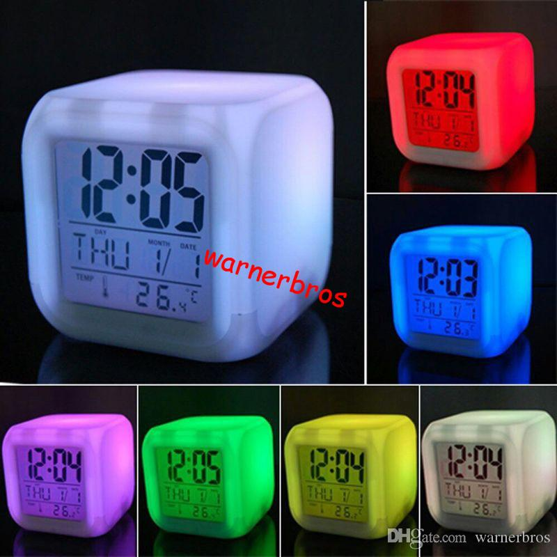 Coloring for Kids kids color changing alarm clock : 2019 To USA 7 LED Color Change Flash Light White Square Cute Digital ...
