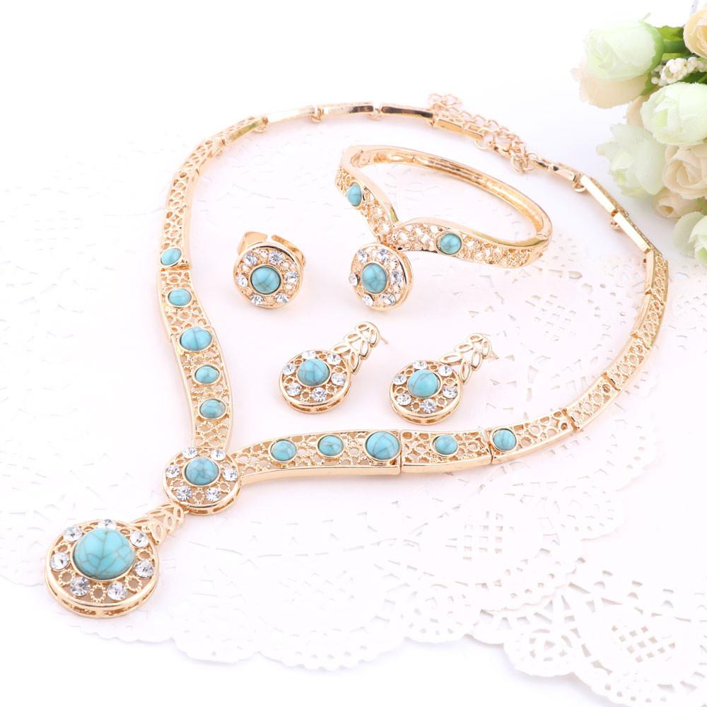 Statement necklace with earrings bracelet Jewelry sets Trendy Boho crystal women necklace for party wedding new arrival
