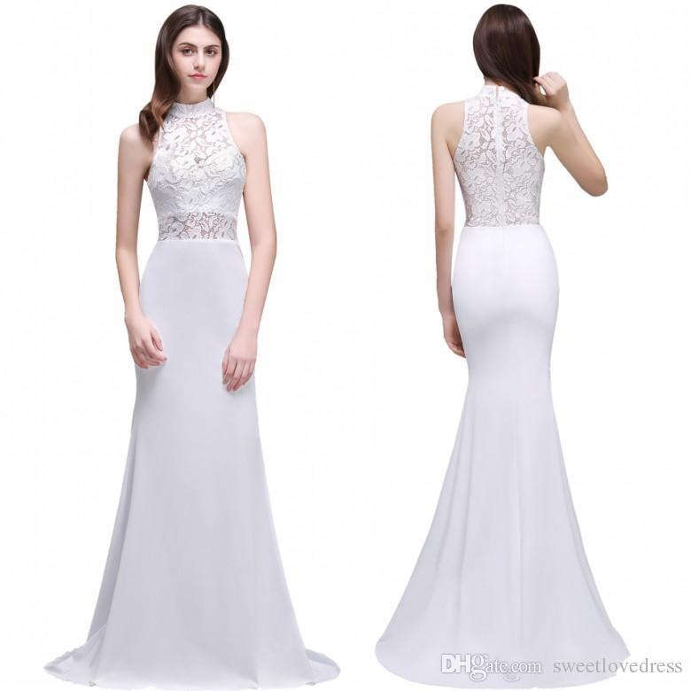 2017 modern Lace Wedding Dresses mermaid satin Elegant Sheer High collar sexy backless Cheap Under $100 Bridal Gowns