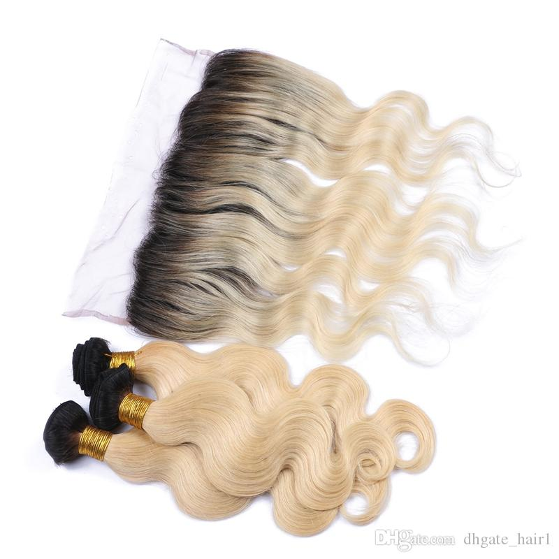 1B / 613 Blonde Malaisienne Vierge Ombre Cheveux Humains Weaves Avec Frontals Vague de Corps Deux Tons 3 Bundles Cheveux Humains Avec 13x4 Dentelle Frontale Fermeture