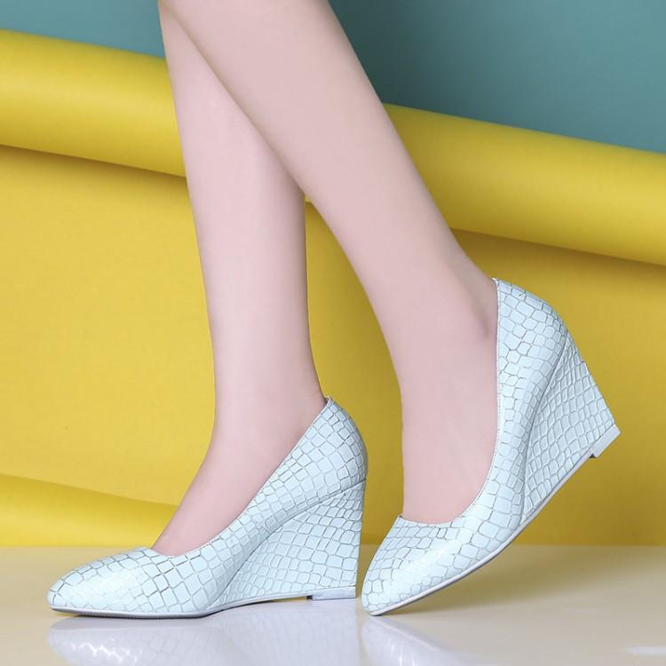 A new spring 2016 high-heeled women shoe Korean scale surface shallow mouth slope with low shoes are all-match shoes