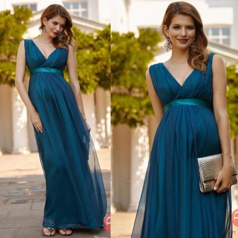 Dark Blue Maternity Women Evening Dresses Prom Dress V Neck Simple