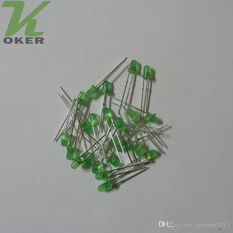 3mm Verde difusa LED Light Lamp levou Diodos 3mm Difundido Verde Ultra Brilhante Rodada Luz LED Frete Grátis