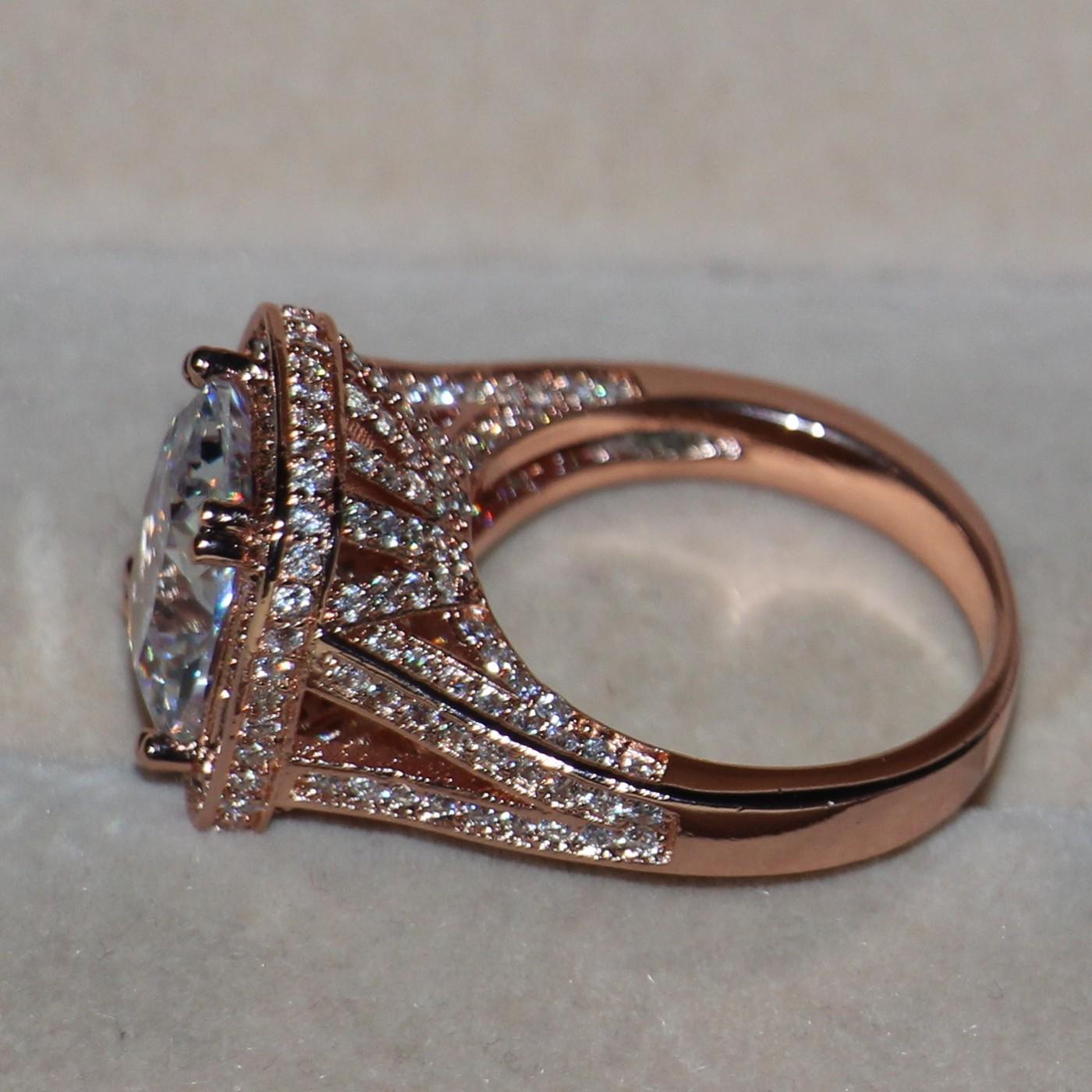 Victoria Wieck Luxuxschmucksachen 10ct Topas Tiny CZ 925 Sterling Silber Rose Pave Simulierter Diamant-Hochzeit Band-Frauen-Ring-Größe 5-11