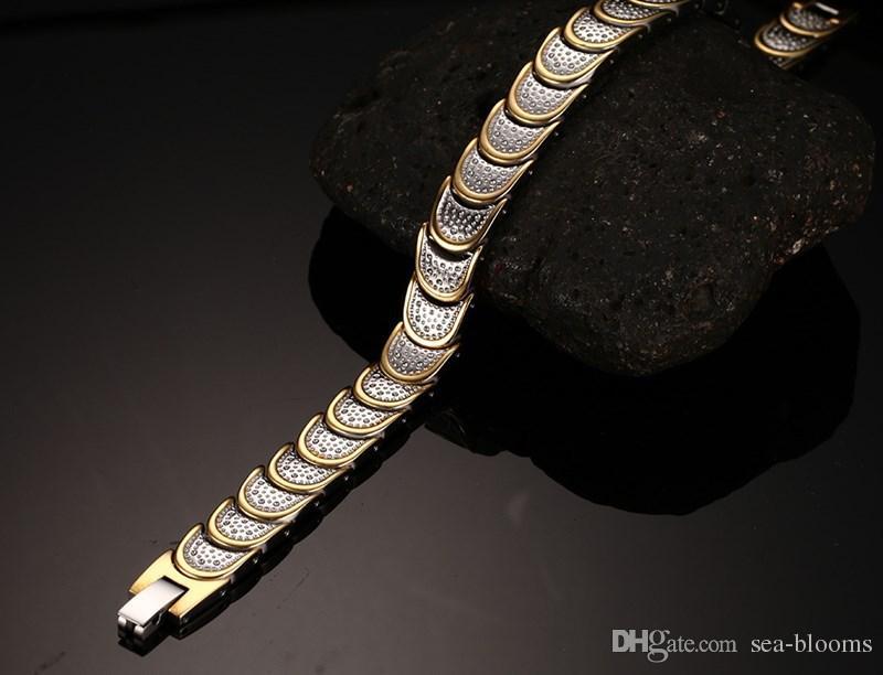 Trends Raffinierte Qualität Bio Gesundheit Männer Armband Armreif Edelstahl Magnetische Pflege Schmuck Gold Farbe Balance Armbänder Armreifen B862S