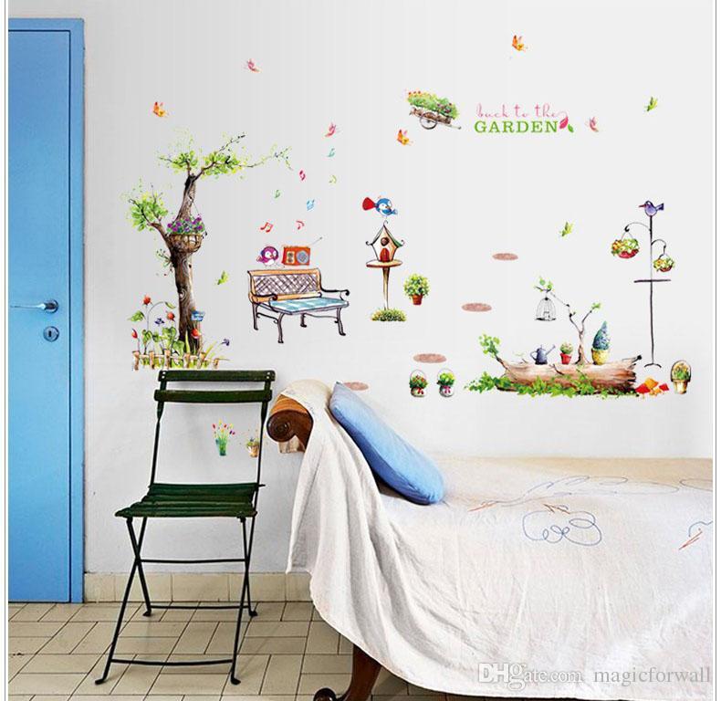 Una esquina del cartel Art Park Imagen de pared Decoración Volver a la cesta de jardín Tatuajes de pared Flor etiqueta de la pared del árbol Planter Presidente del papel pintado de la decoración