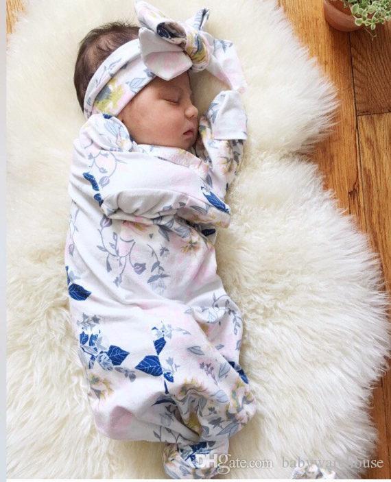 Bebek Kız Bebek Uyku Tulumu Yenidoğan Bebek Yumuşak Pamuk Uyku Çuval Ile Eşleşen Kafa Iki Parçalı Set Bebek Kundak Şal Için 0-3 M