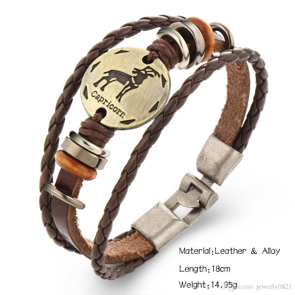 Newest Handmade Genuine Leather Braided Vintage 12 Constellations Charm Bead Bracelet Men Women Locky Bracelets Jewelry Christmas gift
