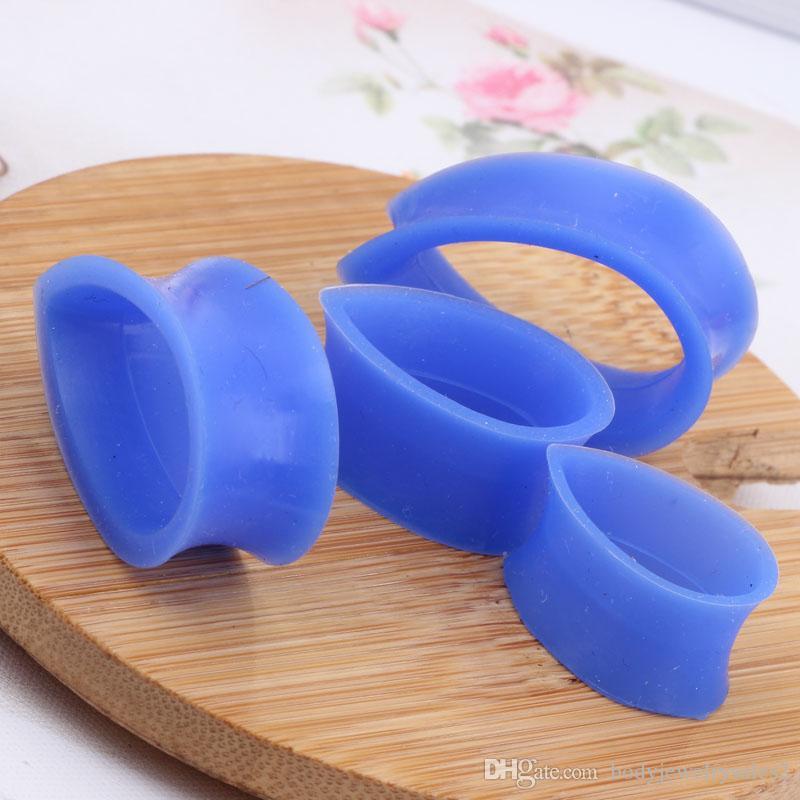 Tear Drop Flexible Silicone Tunnels Ear Plugs Gauges wholesales piercing body earring kits cuff jewelry 4-22mm