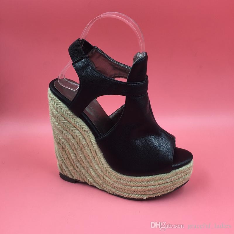d47f00f3bb43 Black Soft Leather Women Wedge Sandals High Heels Platform Rope Heels Shoes  Women Open Heels Peep Toe Ankle Strap True To Size Sandals For Women Knee  High ...