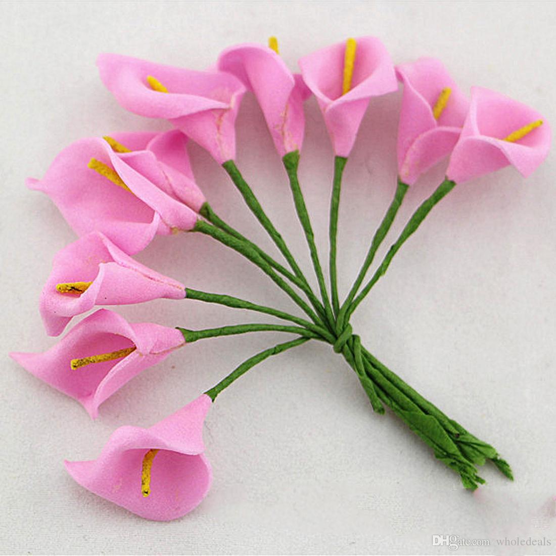 12 teile / los Mini Schaum Calla Handgemachte Künstliche Blume Bouquet Hochzeit Dekoration DIY Kranz Geschenkbox Scrapbooking Handwerk Gefälschte Blume