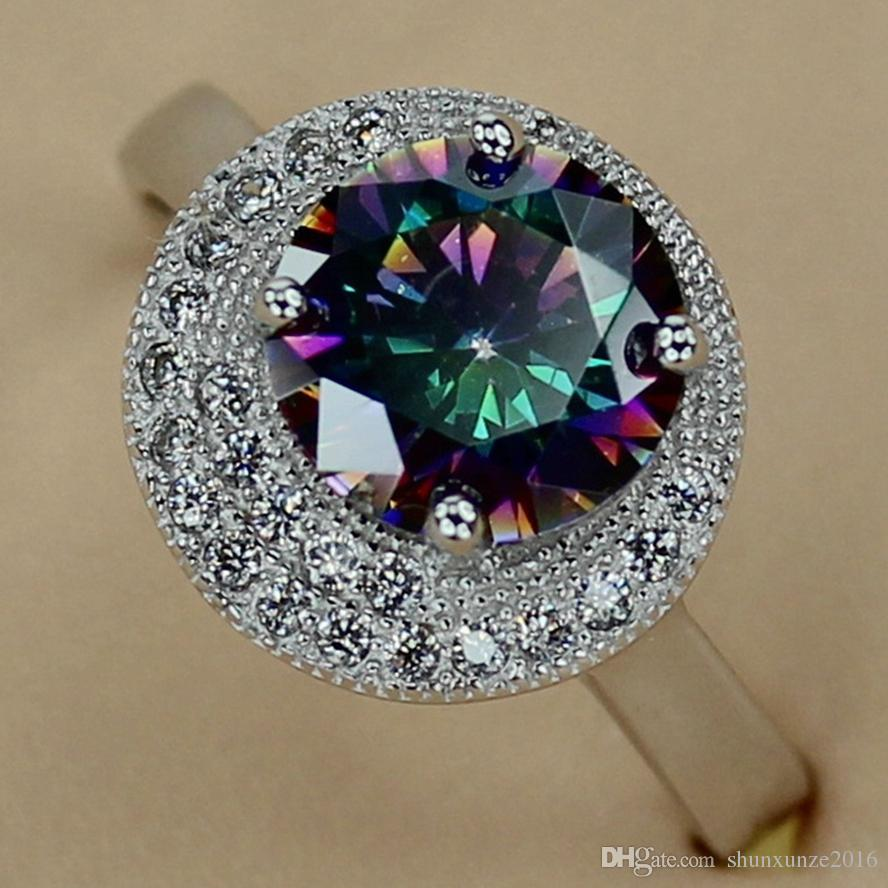 Kupfer Rhodium Plated Empfehlen Ringe Rainbow Fire Mystic Zirkonia Favorit MN3203 sz # 6 7 8 9 Edle Großzügige Shinning Neuankömmlinge