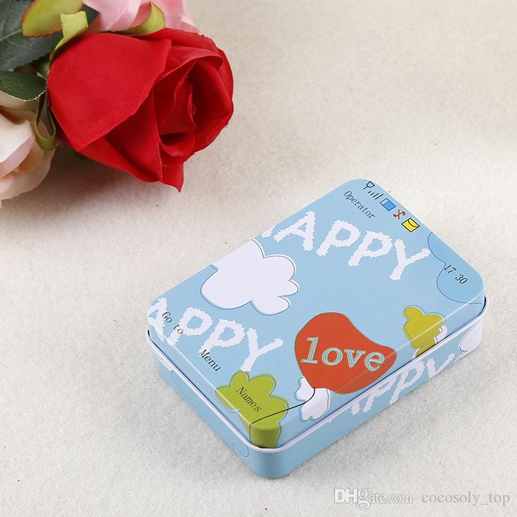 Zakka Storage Boxes Vintage Mini Jewelry Pill Candy Organizer Favor Tin Box Metal Rectangle Collectable Tin Boxes Packaging