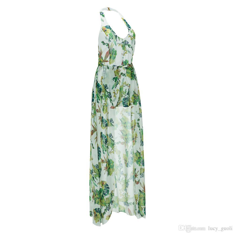 2016 Hot Summer Elegant Floral Printing Chiffon Maxi Dress Sexy Casual Beach Women Slit Rompers Long Backless Bandage Dresses Bohemian Style