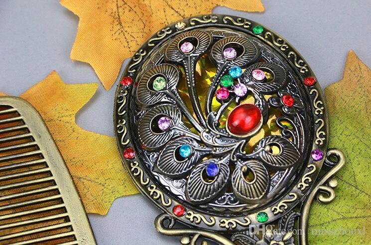 Классический ретро старинные макияж компактное зеркало медь Золотой выдалбливают косметический провел зеркало с гребнем волос выгравированы зеркало