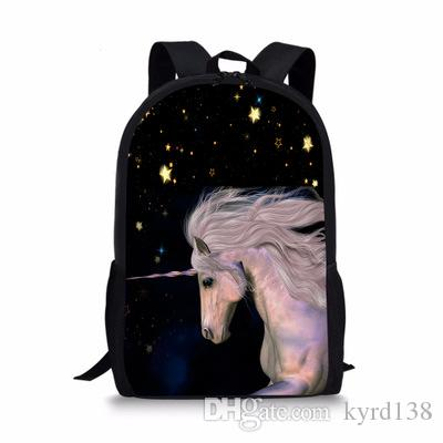 FORUDESIGNS Mysterious Unicorn Schoolbag For Boy And Girl Primary School  Backpack Fashion Notebook Bag Satchel Child Soft Strap Sports Bags Bags For  Men ... 875dce7723595