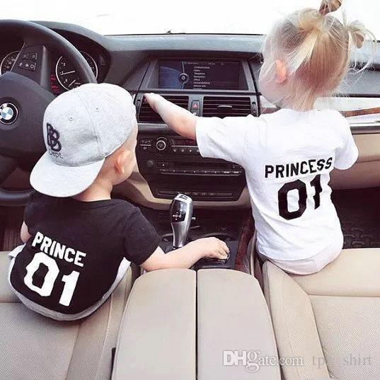 057d6317bddb4 Prince Princess Kids T Shirt Parent Child Short Sleeve Gown Boy Girl ...