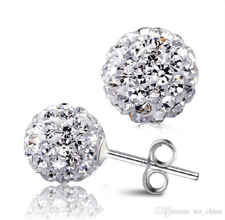 SHAMBALLA STYLE SWAROVSKI CRYSTAL DISCO BALL FRIENDSHIP BEAD STERLING SILVER EARRINGS 8MM [White AB]