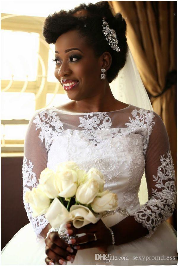 Abiti da sposa in pizzo vintage applique ball gown sheer collo maniche lunghe abiti da sposa sudafricano plus size lunghezza del pavimento da sposa vestidos