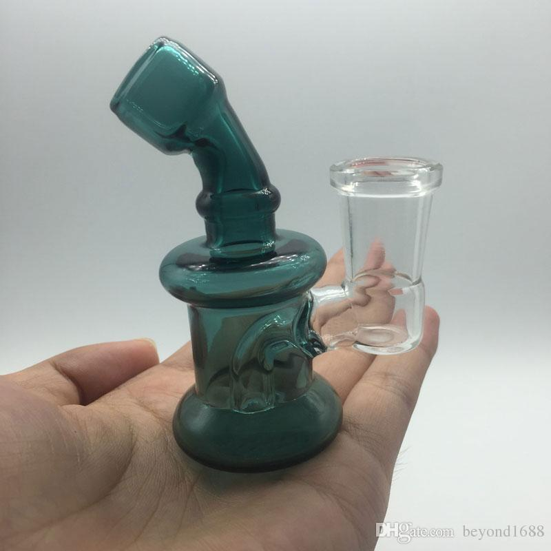 미니 유리 봉 14mm 여성 공동 3.3 인치 유리 오일 조작 두꺼운 Pyrex 유리 물 파이프 Dab Rigs