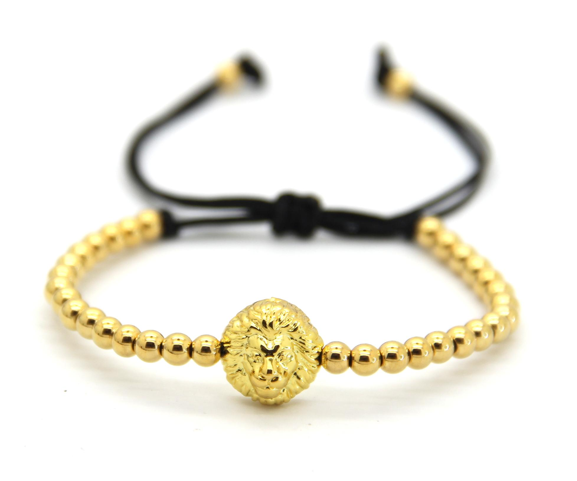 2016 Man Gold Plated Lion Head Charm Bracelet Jewelry With 4mm Copper Beads  Braiding Macrame Bracelets Charm Bracelet Charms Charms For Charm Bracelets  From