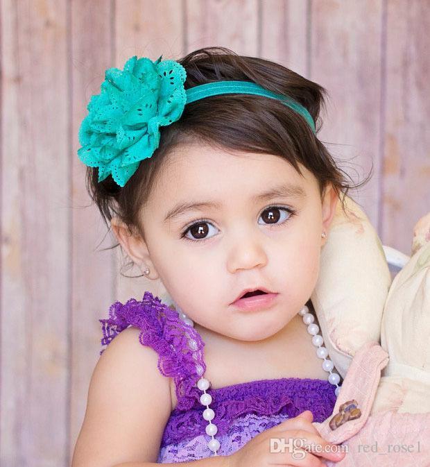 Barnens barn hårband ihåliga vågkant chiffong blomma spädbarn baby flickor elastiska hårband huvudbands färg