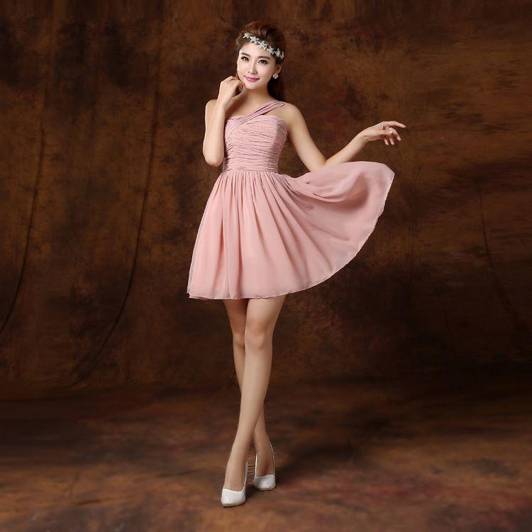 Robe de demoiselle d'honneur en mousseline de soie courte plissée Robe boule rose Robe de demoiselle d'honneur formelle Robe à lacets 6 Styles Ordre Mixte