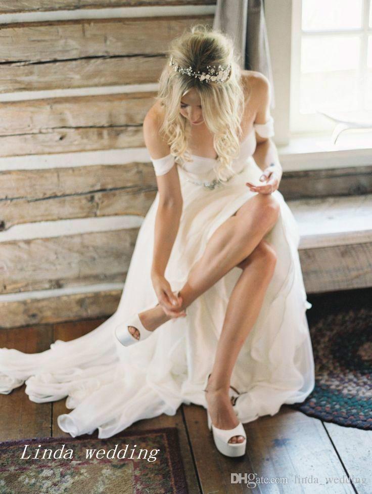 2019 بوهو شاطئ فساتين الزفاف عالية الجودة ألف خط قبالة الكتف الطابق طول طويل البوهيمي النساء ارتداء أثواب الزفاف حزب