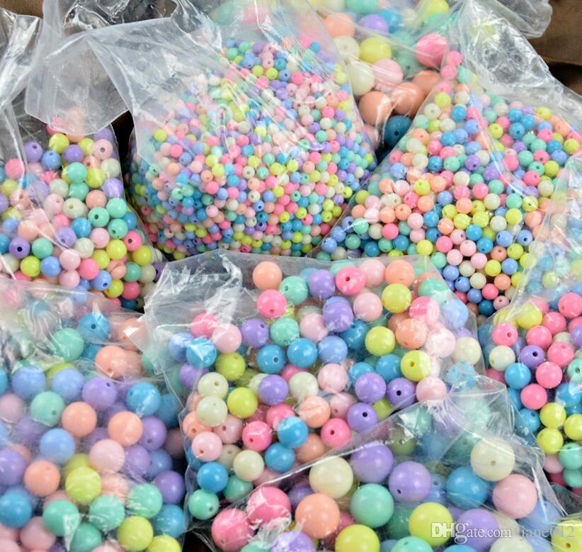 Gros coloré Perles en vrac pour Bracelets Collier DIY Bijoux Making Acrylique Enfants Enfants Perles Rondes à Vendre 1KG